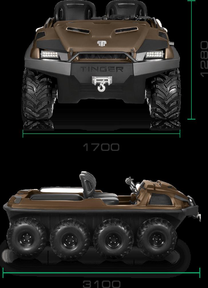 габаритные размеры вездехода tinger armor W8