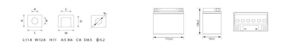 Стартовый аккумулятор Delta CT 1207.2 напряжением 12В и емкостью 7Ач
